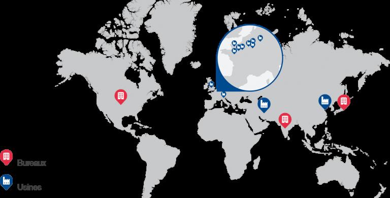 Carte d'implantation des usines et bureaux de Manoir Industries